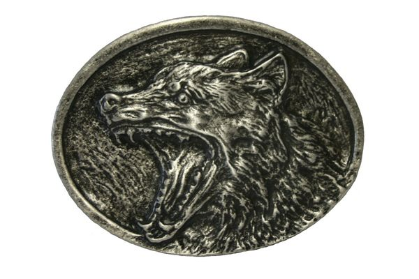 Buckle böser Wolf II altsilber