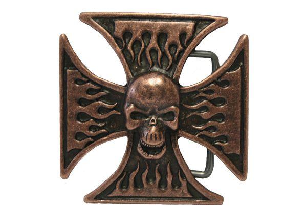 Buckle Totenkopf Kreuz altkupfer