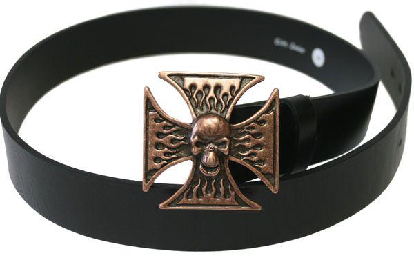 Gürtel Totenkopf Kreuz altkupfer – Bild 1