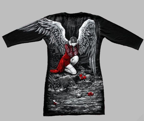 Longshirt Red Roses Angel with Raven – Bild 3