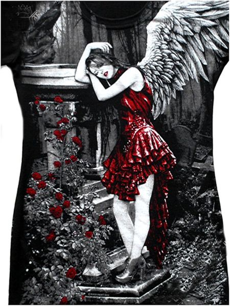 Longshirt Red Roses Angel with Raven – Bild 4