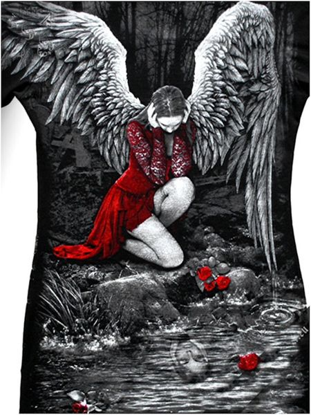 Longshirt Red Roses Angel with Raven – Bild 5