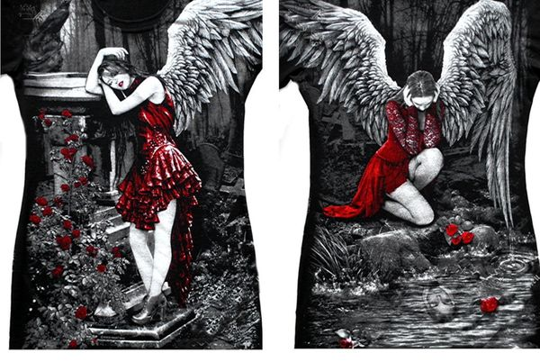 Longshirt Red Roses Angel with Raven – Bild 1