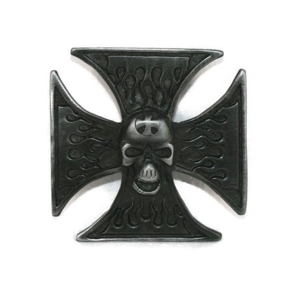 Buckle Totenkopf Kreuz schwarz