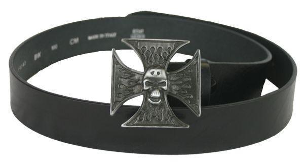 Gürtel Totenkopf Kreuz schwarz – Bild 1