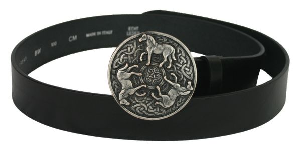 Gürtel keltische Pferde altsilber – Bild 1