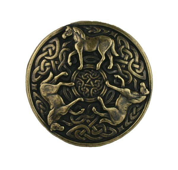 Gürtel keltische Pferde altmessing – Bild 2