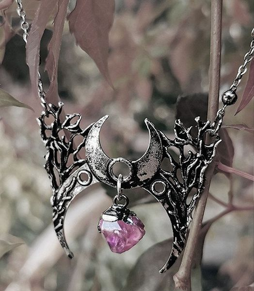 Halskette Gothic moon necklace with crystal BRANCH CRESCENT – Bild 2