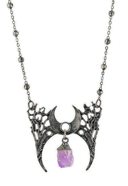 Halskette Gothic moon necklace with crystal BRANCH CRESCENT – Bild 3