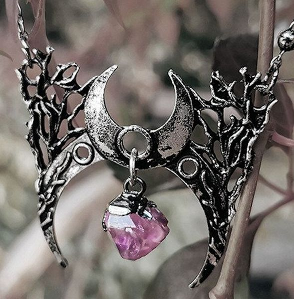 Halskette Gothic moon necklace with crystal BRANCH CRESCENT – Bild 1