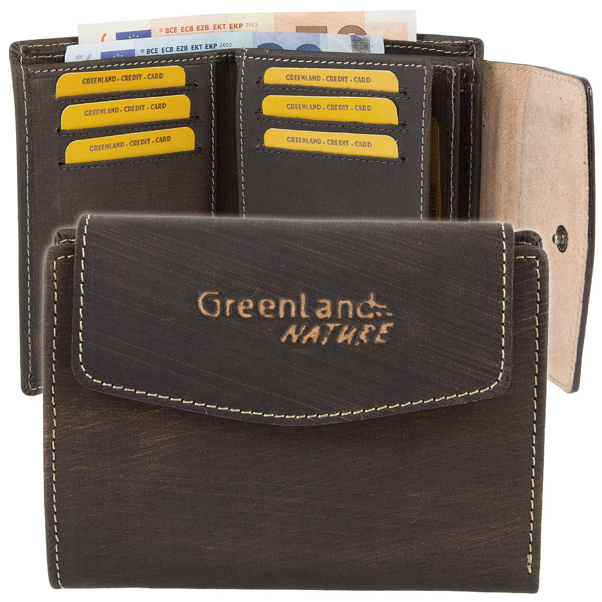 GREENLAND Nature Handbrush Leder Geldbörse Portemonnaie 1566-25