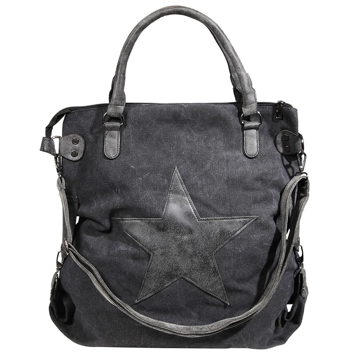 Damen XL Canvas Shopper Handtasche Schultertasche mit Stern Motiv ...