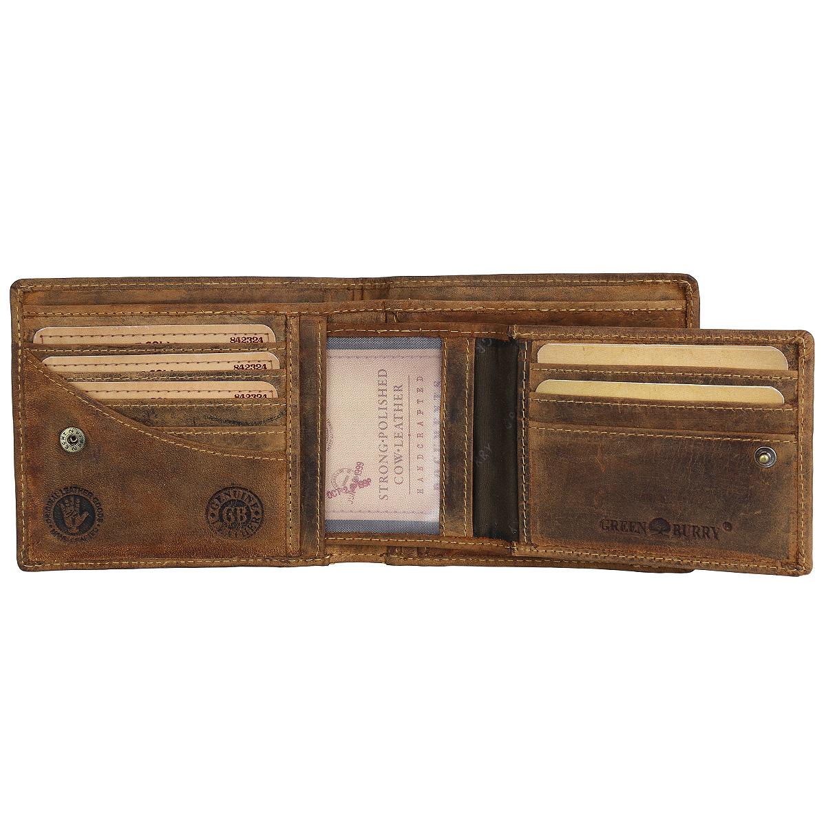 Greenburry Vintage 1702 Leder Geldbeutel Geldbörse Portemonnaie mit Münzfach