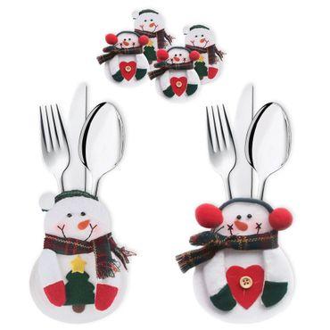 3x Besteckbeutel Bestecktasche Serviettentasche Deko Besteckhalter Weihnachten  – Bild 1