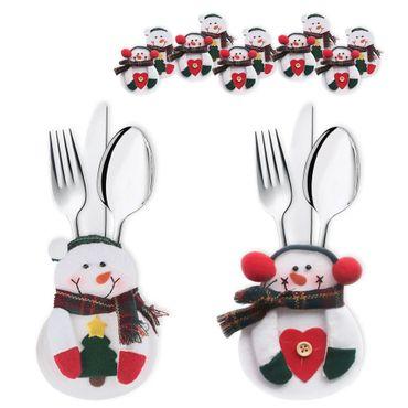 6x Besteckbeutel Bestecktasche Serviettentasche Deko Besteckhalter Weihnachten