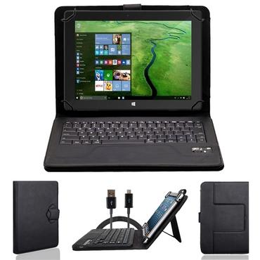 NAUC Wireless Bluetooth V 3.0 Keyboard Tastatur kabellos Ultra für Odys Rise 10 - Odys Space 10 Plus 3G Tablet dünn ergonomisches Design deutsche QWERTZ Tastatur mit Schutzhülle aus robustem leicht zu reinigenden Kunstleder Standfunktion – Bild 1