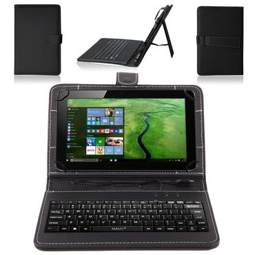 NAUC® Keyboard-Micro-USB-Tastatur Ultra für Odys Rapid 10 LTE Tablet dünn ergonomisches Design QWERTY Tastatur mit Schutzhülle aus robustem leicht zu reinigenden Kunstleder mit Standfunktion und Magnetverschluss – Bild 1