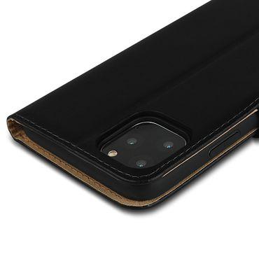 Leder Hülle für Apple iPhone 11 Pro Max Schutzhülle Schwarz Cover Handy Tasche – Bild 9