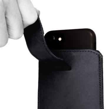 Leder Tasche Pull Tab Sleeve Smartphone 4,7 - 5,8 Zoll Hülle Schutzhülle Case Cover – Bild 7