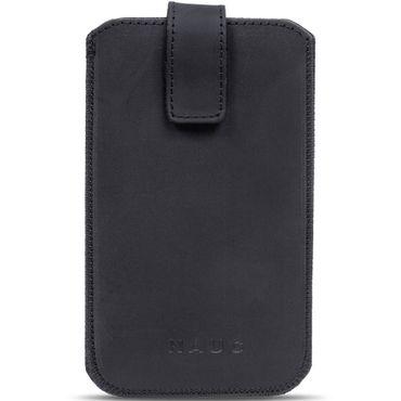 Leder Tasche Mobistel Cynus E5 Schwarz Pull Tab Sleeve Hülle Schutzhülle Cover – Bild 3