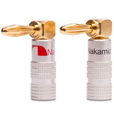 2x High End Nakamichi Bananenstecker vergoldet Winkel Bananas Banana 24K b. 6mm² – Bild 2