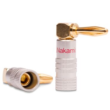 2x High End Nakamichi Bananenstecker vergoldet Winkel Bananas Banana 24K b. 6mm² – Bild 7