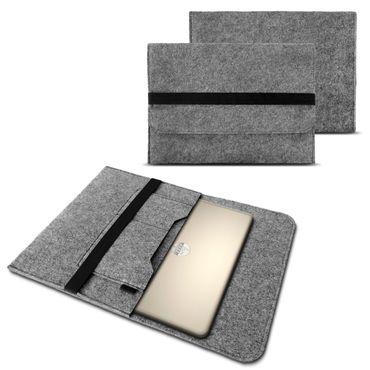 """Tasche Hülle für 15"""" 15.6 Zoll Filz Sleeve Schutzhülle Laptop Case Ultrabook Cover Notebook Bag aus strapazierfähigem Filz in Grau mit Innentaschen und sicheren Verschluss von NAUC – Bild 1"""