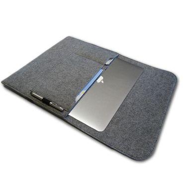 Tasche Hülle für Medion Akoya E2215T Filz Sleeve Schutzhülle Laptop Case Cover Notebook Bag aus strapazierfähigem Filz in Grau mit Innentaschen und sicheren Verschluss von NAUC – Bild 2