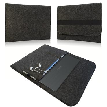 Tasche Hülle für Medion Akoya E6432 15,6 Zoll Notebook Filz Sleeve Schutzhülle Laptop Case Cover Bag aus strapazierfähigem Filz in dunkel Grau mit Innentaschen und sicheren Verschluss von NAUC – Bild 1