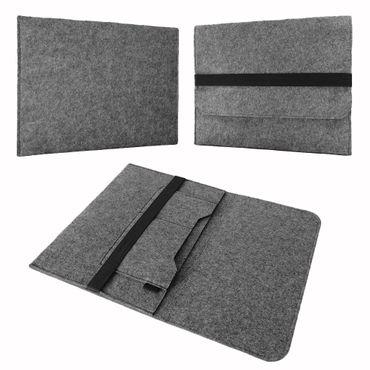 Tasche Hülle für Laptop Case Ultrabook Cover Notebook 17 - 17.3 Zoll Filz Sleeve Schutzhülle Bag aus strapazierfähigem Filz in Grau mit Innentaschen und sicheren Verschluss von NAUC – Bild 2