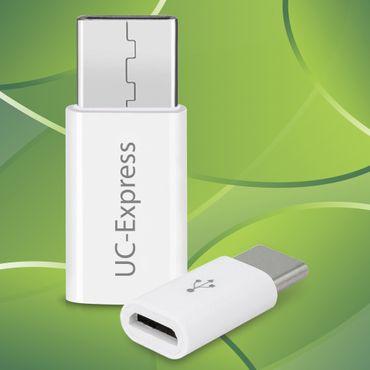 2x USB-C Adapter Handy Tablet Smartphone USB auf USB C Stecker USB Buchse Micro – Bild 1