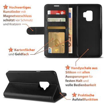 Schutzhülle für Samsung Galaxy S9 Tasche Schwarz Handy Hülle Cover Flip Cover  – Bild 3