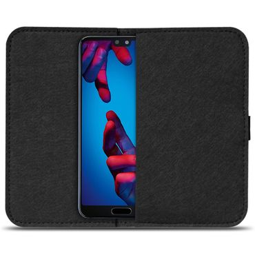 Handy Tasche Huawei P20 Pro Filz Hülle Smartphone Cover Schutz Case Schutzhülle – Bild 3