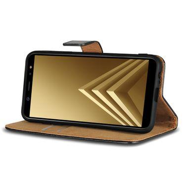 Handy Klapp Hülle Leder für Samsung Galaxy A6 2018 Flip Cover Schutz Tasche Book – Bild 2