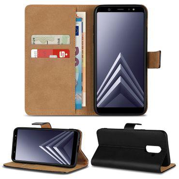 Handy Klapp Hülle Leder Samsung Galaxy A6 / Plus 2018 Flip Case Schutz Tasche – Bild 1