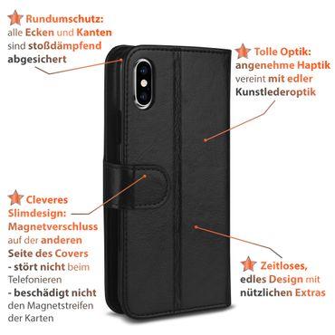 Klapphülle Apple iPhone X Hülle Handy Tasche Flip Book Case Schutzhülle Cover – Bild 9