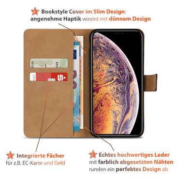 Klapphülle für Apple iPhone Xs Max Leder Tasche Book Cover Handy Hülle Flip Case – Bild 4