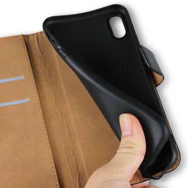 Klapphülle Apple iPhone Xs Leder Tasche Book Cover Handy Hülle Flip Slim Case – Bild 7