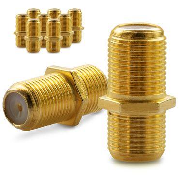10x F Verbinder Sat Kupplung Antennen Koaxialkabel Kabel Adapter Buchse Koaxial – Bild 1