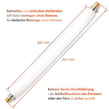 Fensterdurchführung Flachkabel SAT 2 x Kabel 20 cm F Verbinder vergoldet Fenster – Bild 8