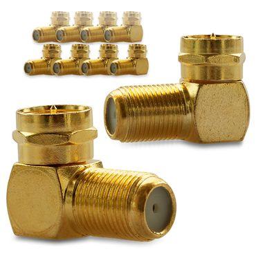 10x F-Winkelstecker Winkeladapter Stecker Winkel SAT Adapter Kupplung Vergoldet – Bild 1