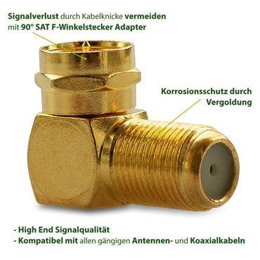 100x F-Winkelstecker Winkeladapter Stecker Winkel SAT Adapter Kupplung Vergoldet – Bild 2