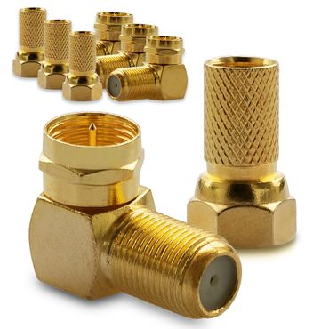 4x F-Stecker 4x SAT 90° F-Winkelstecker Winkel Adapter Buchse Kupplung Vergoldet – Bild 1