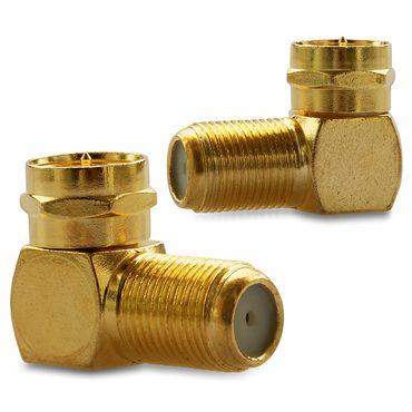 10x F-Stecker 10x SAT F-Winkelstecker Winkel Adapter Buchse Kupplung Vergoldet – Bild 6