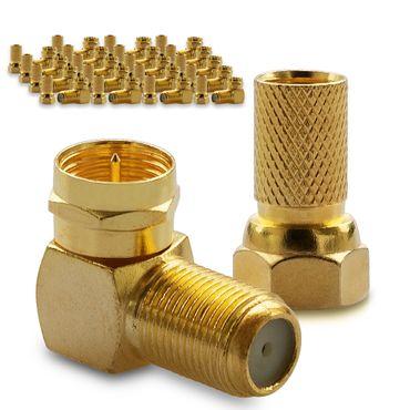 20x F-Stecker 20x SAT F-Winkelstecker Winkel Adapter Buchse Kupplung Vergoldet – Bild 1