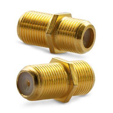4x F-Verbinder Antennen Kabel Verlängerung Sat Buchse Kupplung Koaxial Vergoldet – Bild 5