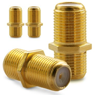 4x F-Verbinder Antennen Kabel Verlängerung Sat Buchse Kupplung Koaxial Vergoldet – Bild 1