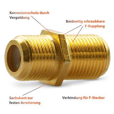 Sat Adapter Vergoldet 20 F Stecker 10 F Verbinder Antennen Koax Kabel Kupplung – Bild 11