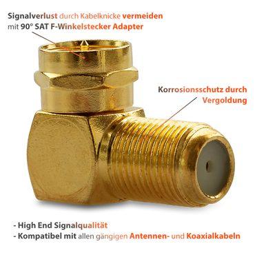 Sat Winkel Stecker F-Winkelstecker Winkel 2x Stecker Adapter Kupplung Vergoldet – Bild 6