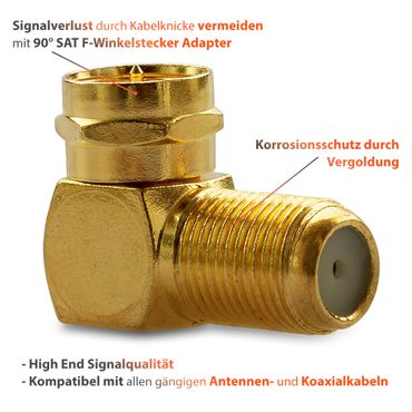 F-Winkelstecker Winkel SAT Adapter Kupplung Vergoldet Winkeladapter 30x Stecker – Bild 6